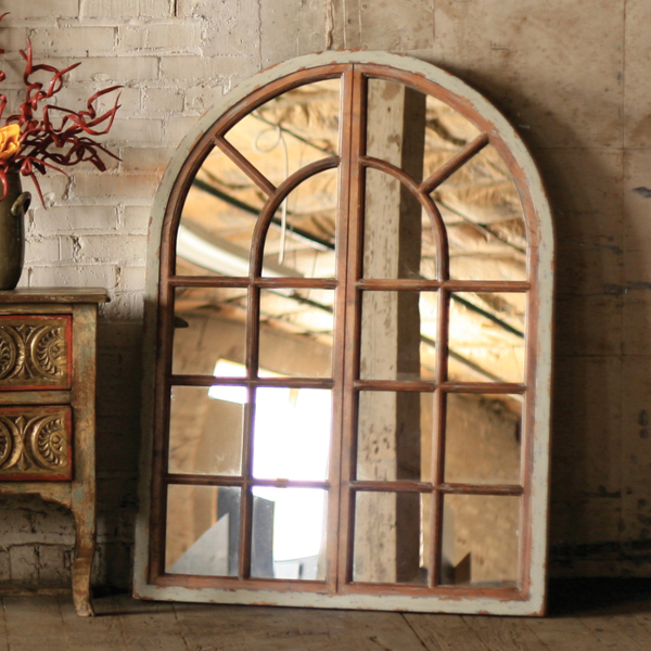 Arched Multi-Pane Window Mirror