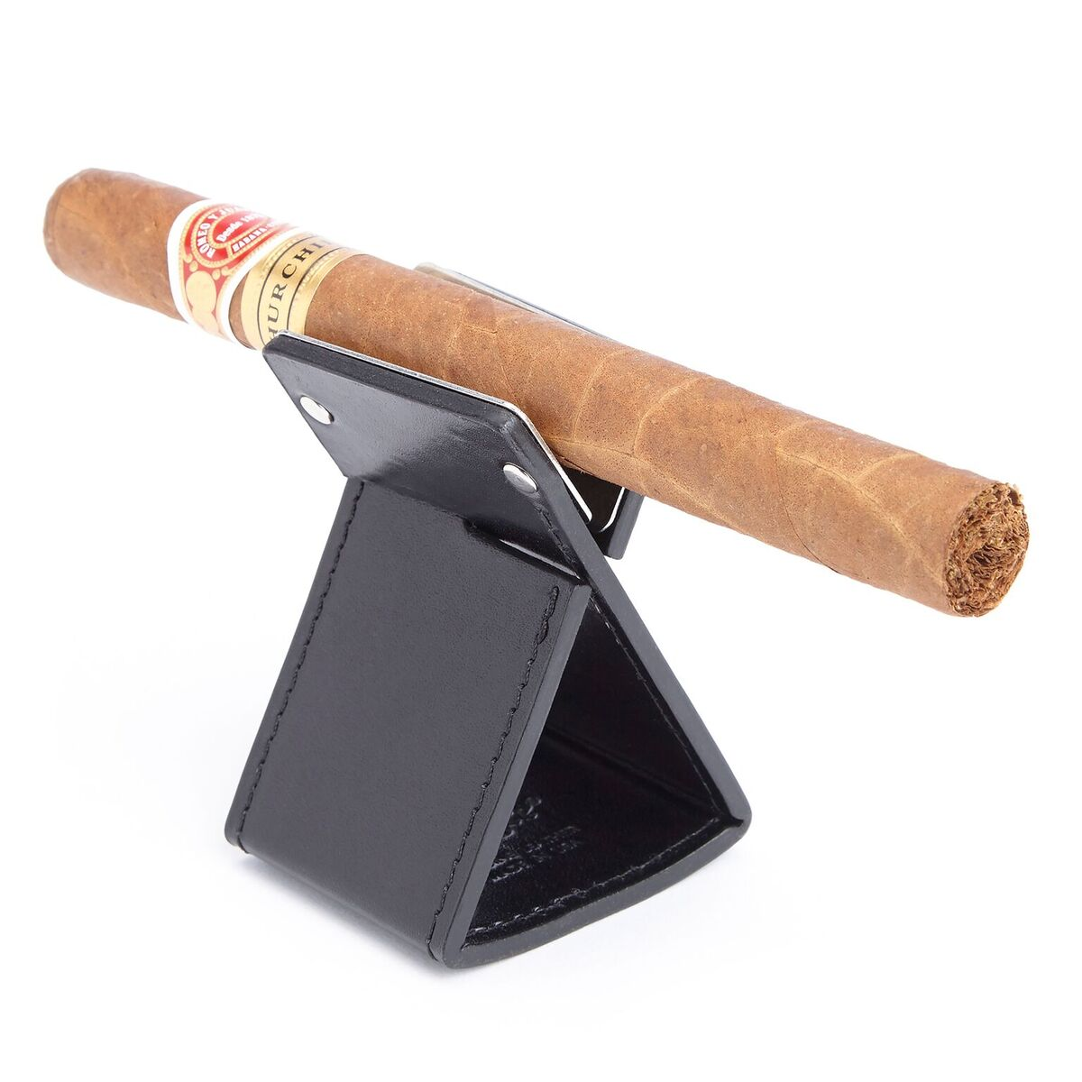 Genuine American Leather Foldable Cigar Stand Ashtray Holder
