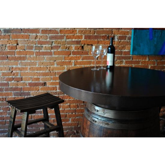 Barrel Bistro Table with Metal Top