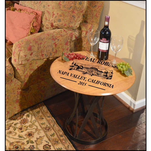 Personalized Chateau Barrel Head Coffee Table