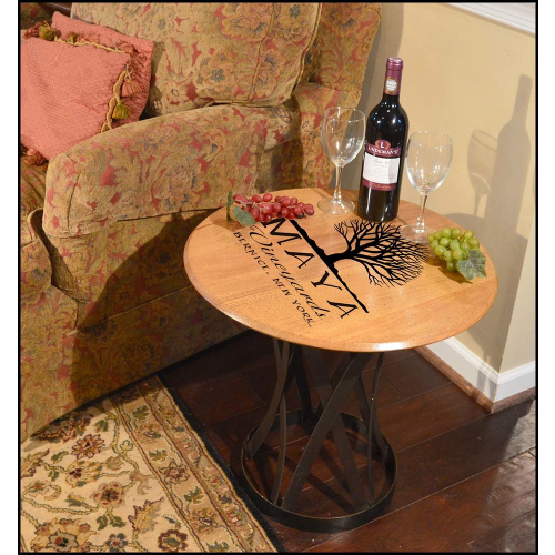 Personalized Vineyards Barrel Head Coffee Table