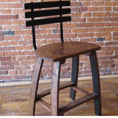 Oak Barrel Head Stave Stools with Back Rest