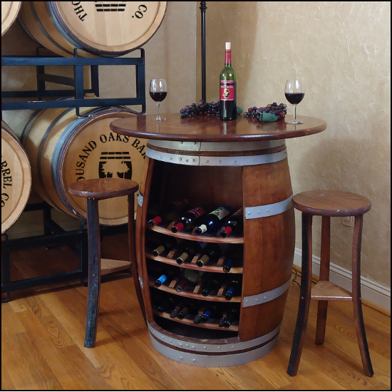 Wine Barrel Table and Stools Set