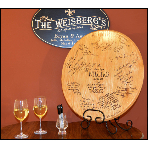 Personalized Wedding Signature Barrel Top with Iron Stand