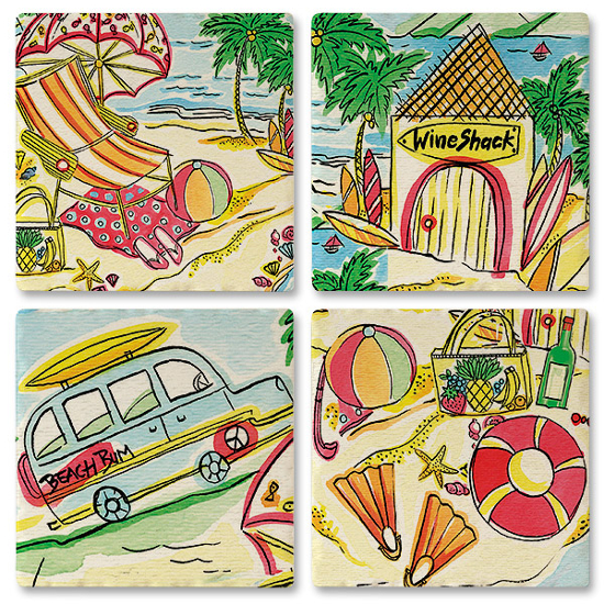 Beach Bummin' Ceramic Tile Coasters (set of 4)