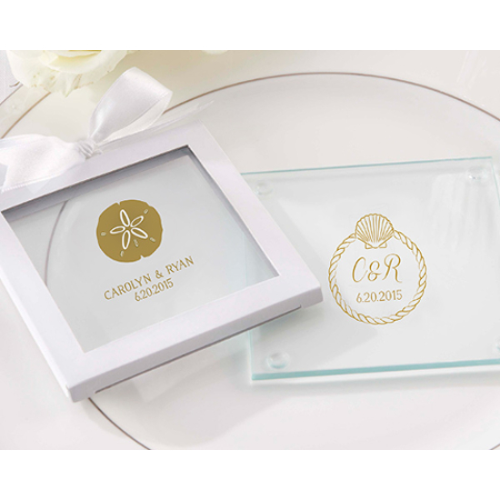 Personalized Seaside Glass Coaster Wedding Favors (set of 36)