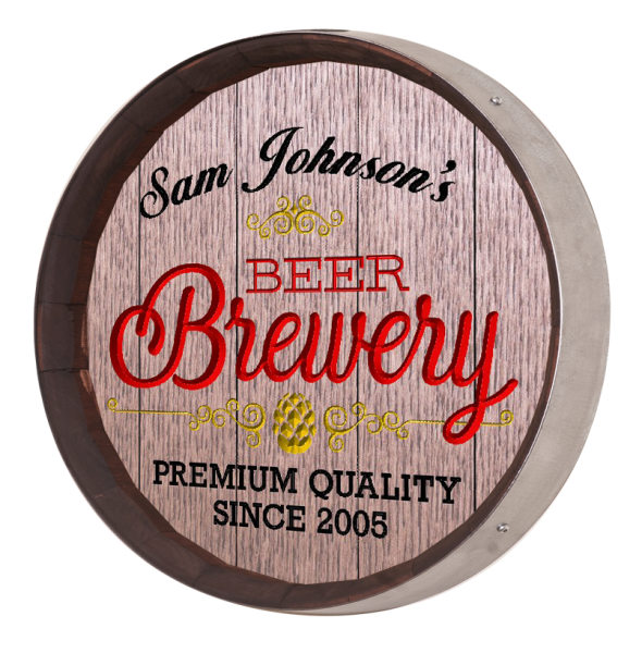Personalized Beer Brewery Barrel Sign