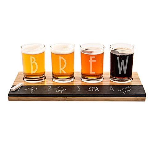 Personalized Slate and Bamboo Beer Flight Set