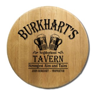 Beer Glass Tavern Barrel Head Sign