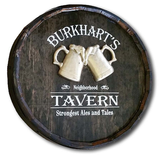 Beer Tavern Personalized Quarter Barrel Sign
