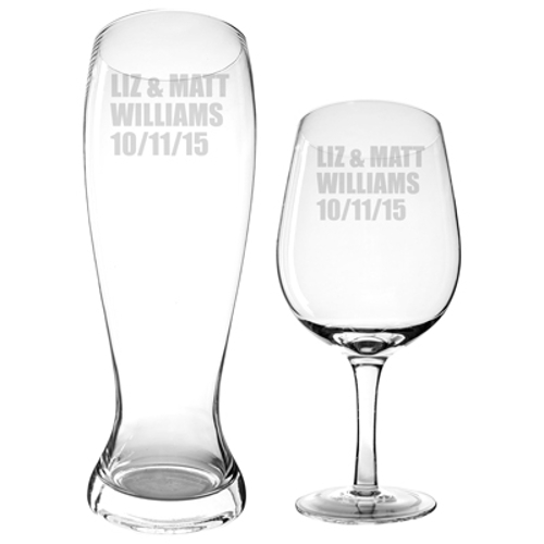 Customized Extra Large Beer and Wine Glasses (set of 2)