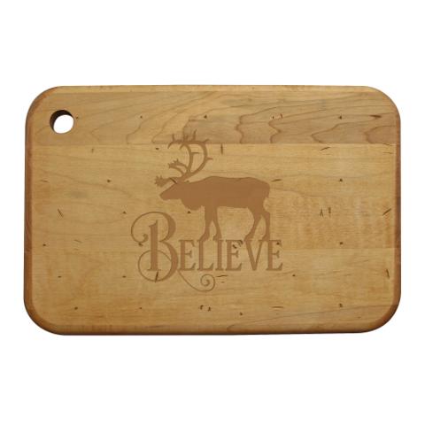 Believe Reindeer Artisan Wood Board