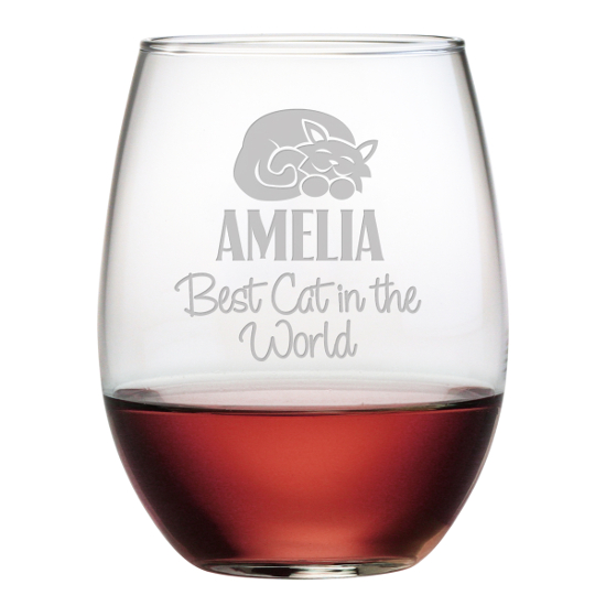 Personalized Best Cat Stemless Wine Glasses (set of 4)