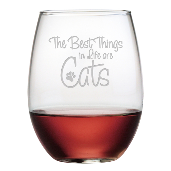 Best Things Are Cats Stemless Wine Glasses (set of 4)