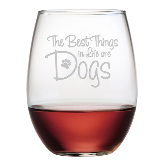 Best Things Are Dogs Stemless Wine Glasses (set of 4)
