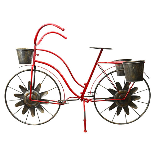 Bicycle Garden Decor Plant Stand, Red