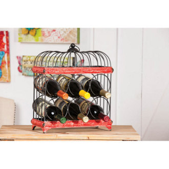 Red and Black Bird Cage 6 Bottle Wine Rack