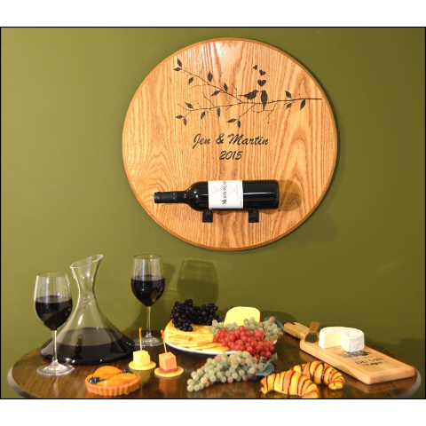 Personalized Lovebirds Barrel Head Bottle Holder