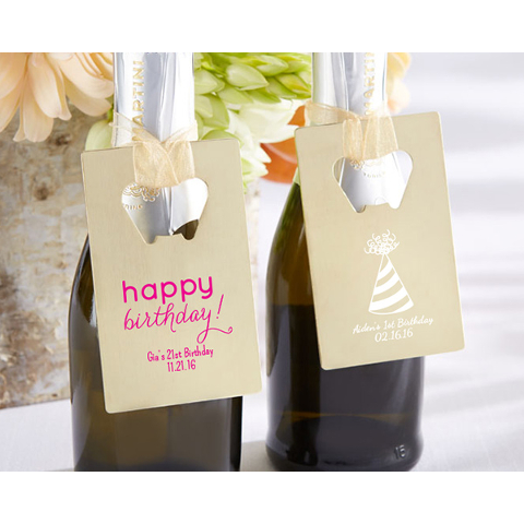 Personalized Birthday Credit Card Bottle Openers (set of 36)