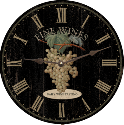 Personalized Fine Wines Wall Clock, Black