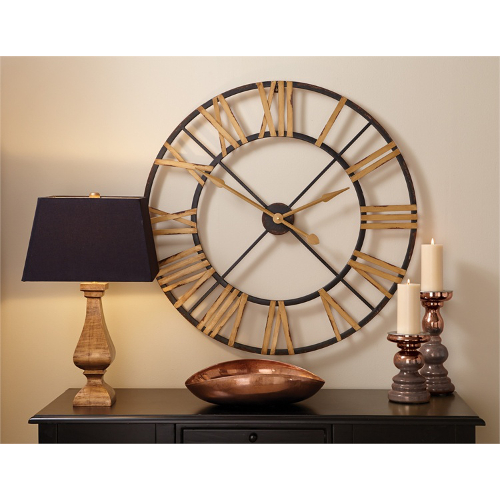 Black and Gold Metal Wall Clock