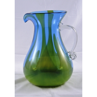 Fire and Ice Handblown Glass Pitcher