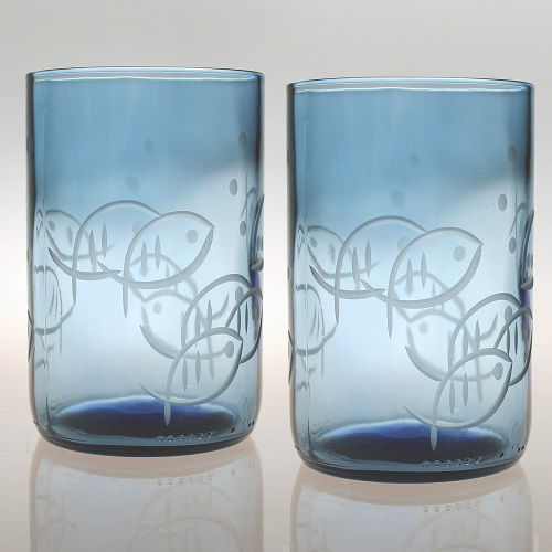 Etched Fish Blue Glass Tumblers (set of 4)