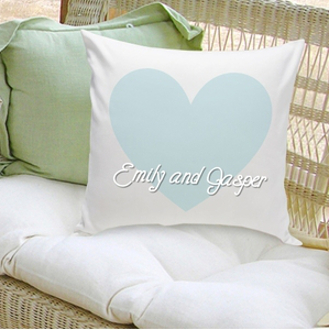 Personalized Blue Heart Love Pillow