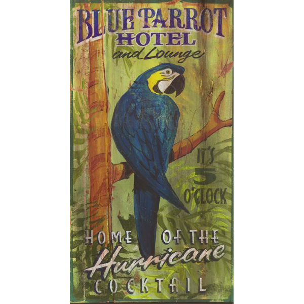 Personalized Blue Parrot Lounge Sign
