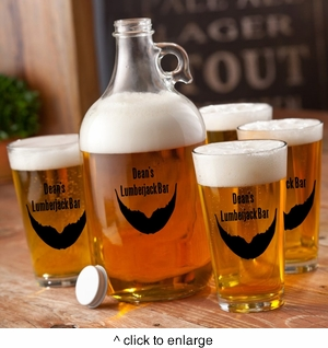 Personalized Beard Beer Growler and Glass Set