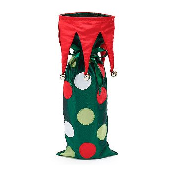 Polka Dotted Holiday Wine Bottle Bag