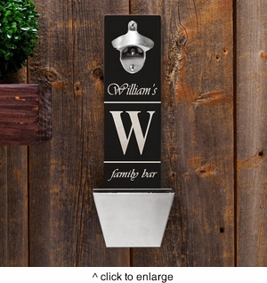 Wall Mounted Personalized Bottle Opener with Cap Catcher