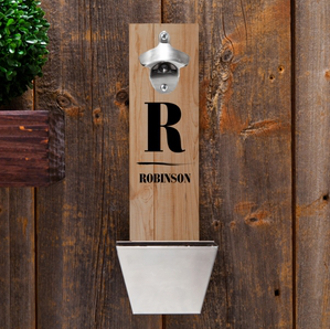 Personalized Famly Name Wall Mounted Bottle Opener with Cap Catcher