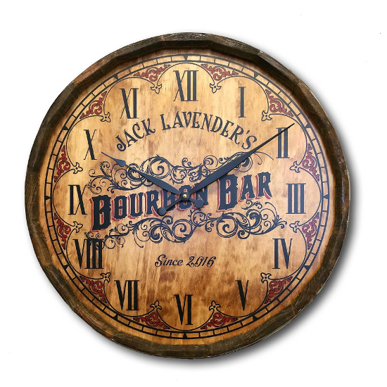Personalized Bourbon Bar Quarter Barrel Wall Clock