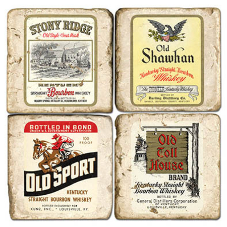 Bourbon Label Italian Marble Coasters (set of 4)