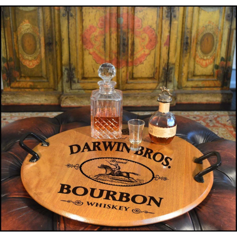 Personalized Bourbon Barrel Head Serving Tray