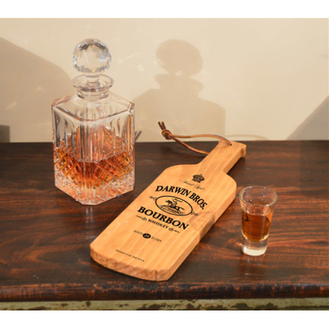 Personalized Bourbon Whiskey Bottle Shaped Server
