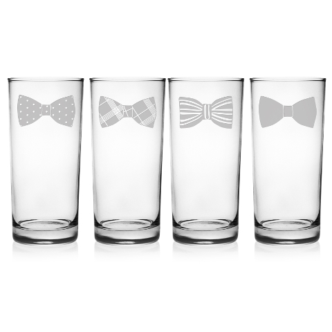 Bow Ties Highball Glasses (set of 4)