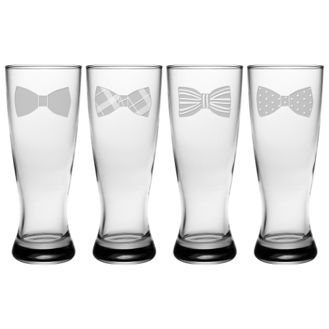 Bow Ties Grand Pilsner Glasses (set of 4)