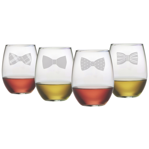 Bow Ties Stemless Wine Glasses (set of 4)