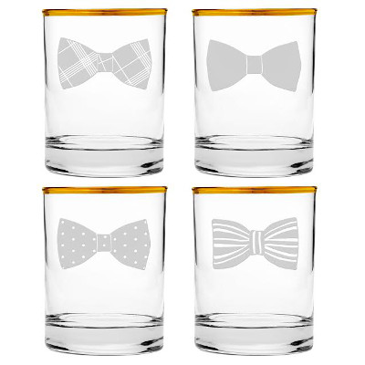 Gold Rimmed Bowtie Heavy Base DOF Glasses (set of 4)