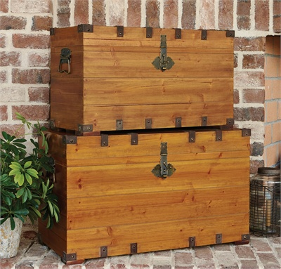 Stackable Wood Trunks - Set of 2