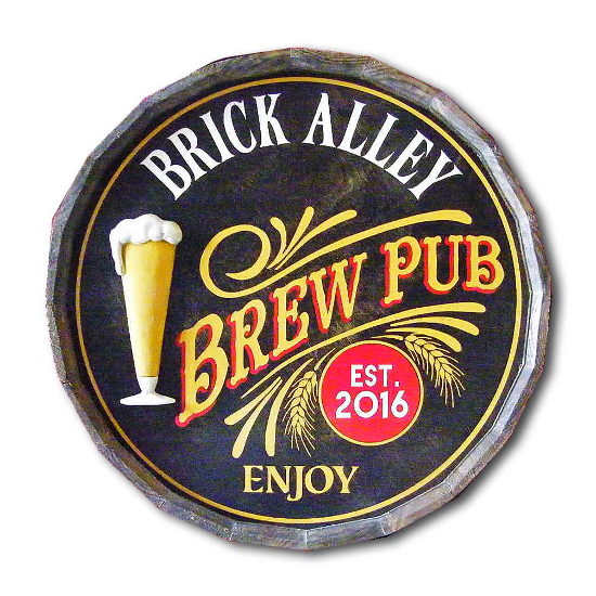 Brew Pub Personalized Quarter Barrel Sign