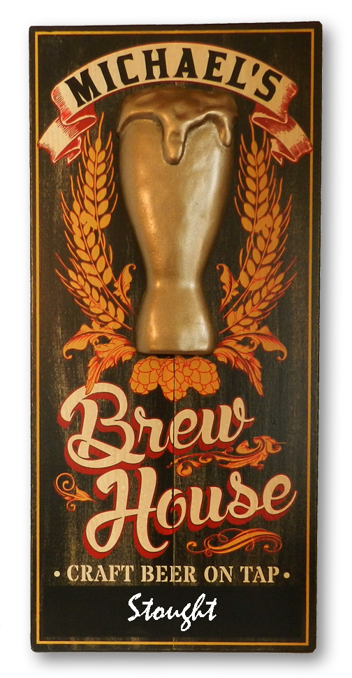 BrewHouse Wooden Sign with Chalkboard