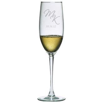 Script Initials Bridal Champagne Toasting Flutes