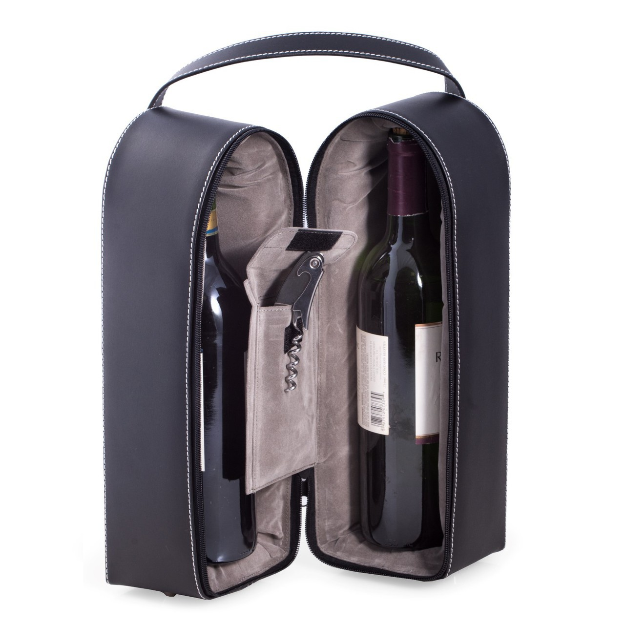 Genuine Leather 2 Bottle Wine Carrier with Corkscrew