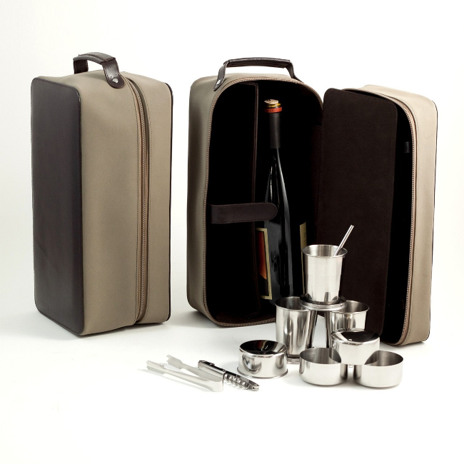 Ultra Suede and Leather 8 Piece Travel Bar Set