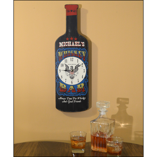 Personalized Whiskey Bottle Clock Wall Art