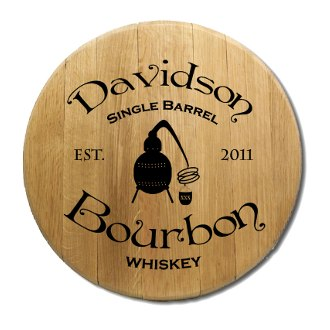 Single Barrel Bourbon Barrel Head Sign