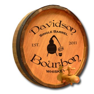 Single Barrel Bourbon Personalized Quarter Barrel Sign